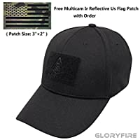 GLORYFIRE Tactical Cap Flex Adjustable Hat Flexible Baseball Cap 2 Hook and Loop Panels for Patches with Free IR Multicam Infrared USA Flag Military Morale Reflective Patch