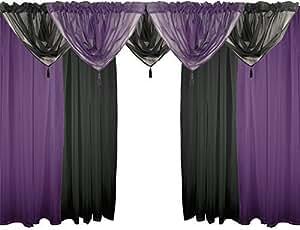 PÚRPURA Y NEGRO 9 piezas Conjunto de gasa 137,16 cm 137 cm barra cortinas y cenefas