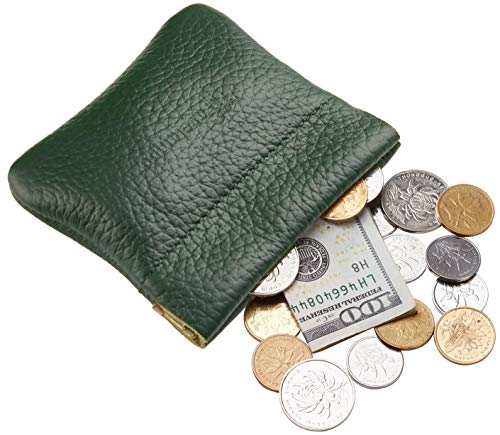 (Travelambo Leather Squeeze Coin Purse Pouch Change Holder For Men & Women (Pebble Green Forest))