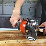Tomato Lemon Slicer Holder Round Fruits Onion Shreader Cutter Guide Tongs with Handle Kitchen Cutting Potato Lime Food Stand Stainless Steel 13 Durable and Ergonomics Design: Tomato slicer holder made of durable stainless steel, with a locking design at the end of handle, so you can slice the fruit vegetable easily and comfortably High quality Food Grade: The product is made of 304 stainless steel with mirror polishing surface, food grade safe Extensive Use: Not only use for tomato and potato, but also guide for lemon and other round fruits and vegetables onion, citrus, oranges and limes