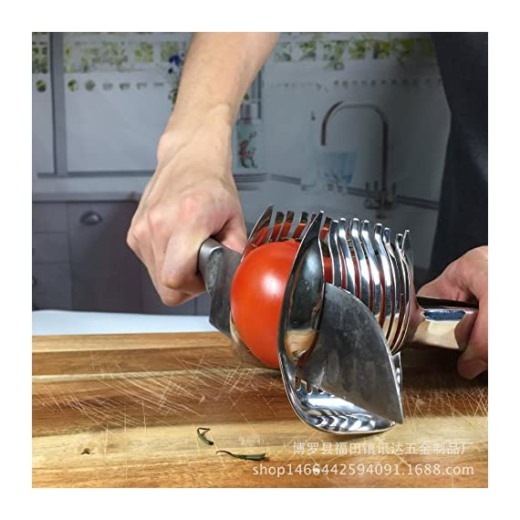 Tomato Lemon Slicer Holder Round Fruits Onion Shreader Cutter Guide Tongs with Handle Kitchen Cutting Potato Lime Food Stand Stainless Steel 6 Durable and Ergonomics Design: Tomato slicer holder made of durable stainless steel, with a locking design at the end of handle, so you can slice the fruit vegetable easily and comfortably High quality Food Grade: The product is made of 304 stainless steel with mirror polishing surface, food grade safe Extensive Use: Not only use for tomato and potato, but also guide for lemon and other round fruits and vegetables onion, citrus, oranges and limes