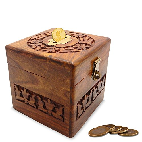 (Khandekar Wooden Handmade Money Bank for Kids Money Saving Decorative Carving Design Piggy Bank (4 Inch))