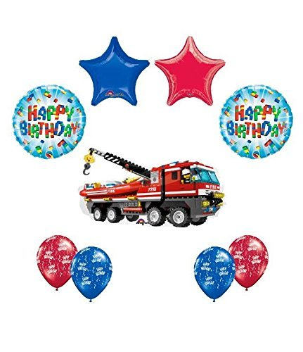 Big City Engine (9 pc LEGO CITY Fire Engine Firetruck Birthday Party Fire Truck Balloon Decorating Supply Kit)
