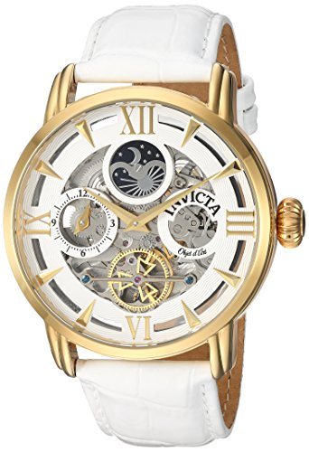 Invicta Men's Objet d'Art Stainless Steel Automatic-self-Wind Watch with Leather-Calfskin Strap, White, 24 (Model: ()