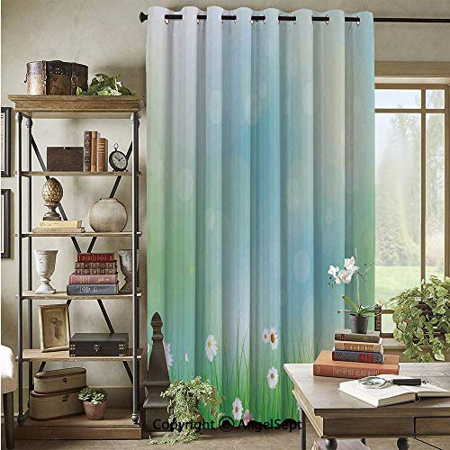 Grommet Blackout Curtain,Fairy Spring Blooms Pattern with Digital Made Bursts Ovary,72x96inch,for Patio Door,Green Blue