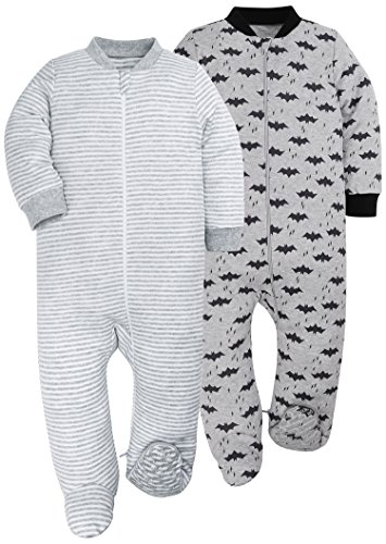 HONGLIN Baby Girls Boys 2-Pack Footed Baby Pajamas Sleepers Rompers 100% Cotton with Non-Slipping Sole (6-9 Months, Bat/Stripe)]()