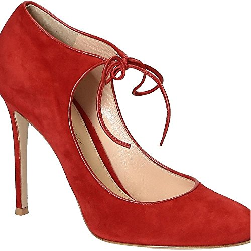 Gianvito Rossi Suede Pumps (Gianvito Rossi Women's Red Chamois Leather Pumps - Heels Shoes - Size: 39 EU)