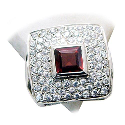 Gemsonclick Genuine Garnet Ring Sterling Silver Cushion Birthstone Cluster Jewelry Size 5,6,7,8,9,10,11 (Genuine Garnet Cluster)