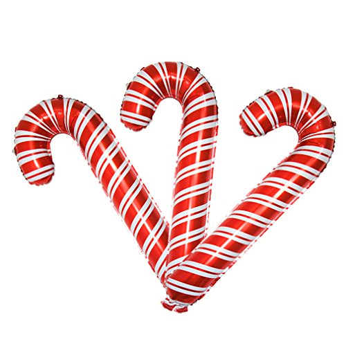 3 Pack Christmas Candy Cane Aluminum Film Foil Balloons Big Holiday Balloons for Xmas Home Party Decoration