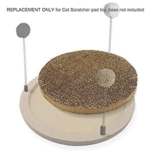 Cat Scratcher/ Cat Scratching Pad with Spring Toys Cardboard Replaceable (3 Pcs Replacement)