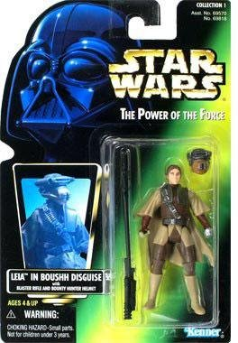 Kenner Star Wars The Power of The Force Princess Leia in Boushh disguise with Green Holo Card