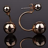 Siam panvaGold Plated Two Side Double Ball Earrings Front Back Stud Piercing Plug