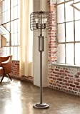 Industrial Floor Lamp Rustic Bronze Open Metal Cage 3-Light LED Edison Bulbs Dimmable for Living Room Bedroom - Franklin Iron Works