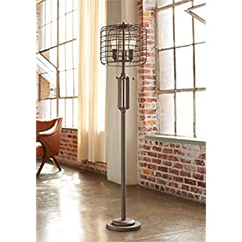 Industrial Floor Lamp Rustic Bronze Open Metal Cage 3 Light Led Edison Bulbs Dimmable For Living
