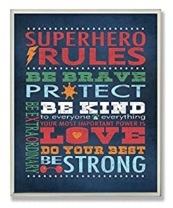 The Kids Room by Stupell Dark Blue Superhero Rules Rectangle Wall Plaque, 11 x 0.5 x 15, Proudly Made in USA