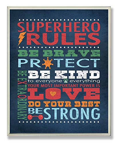Decorations Superheroes Ideas (Stupell Home Décor Dark Blue Superhero Rules Rectangle Wall Plaque, 11 x 0.5 x 15, Proudly Made in)