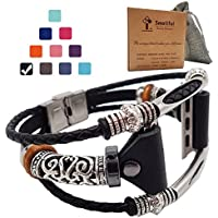 Smatiful Fancy Bands (Small Mediume Large XL are Ok) with Stainless Steel Clasp and Gunmetal Parts for Women, Adjustable Replacement Leather Band for Apple Watch 38mm (Series 1,2,3,4),Classic Black