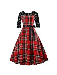 Women Evening Party Prom Swing Dress Vintage Half Sleeve Plaid Lace Patchwork