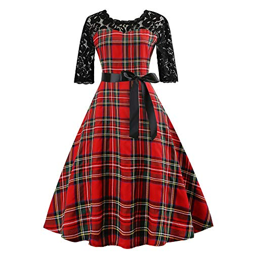 Swing Cocktail Dress,Women's Vintage HalfSleeveg Plaid Lace Patchwork Evening Party Prom Dress by-NEWONESUN