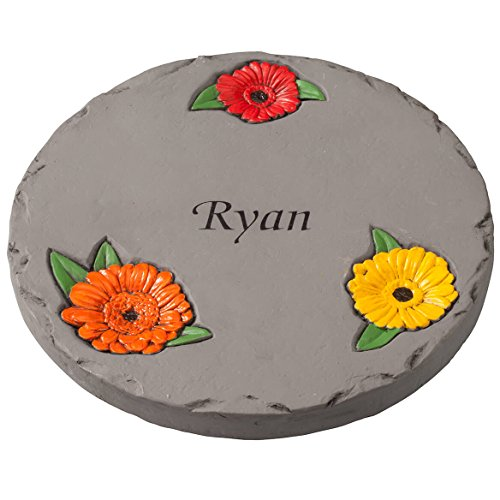 """Fox Valley Traders Personalized 7"""" Daisy Garden Stepping Stone – Decorative, Colorful, Durable, Stepping Stone Ideal for Yard, Walkway or Garden – Weather-Resistant Cement"""