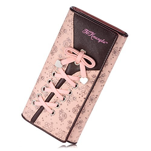 Women's Wallet Clutches Purse Long Leather Cute Shoe Purse With Bandage (Pink)