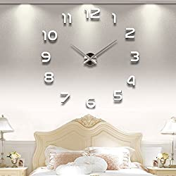 YESURPRISE 3D Frameless Wall Clock Modern Mute Large Mirror Surface DIY Room Home Office Decorations - Silver