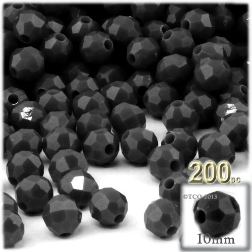 The Crafts Outlet 100-Piece Faceted Plastic Opaque Round Beads, 10mm, Black