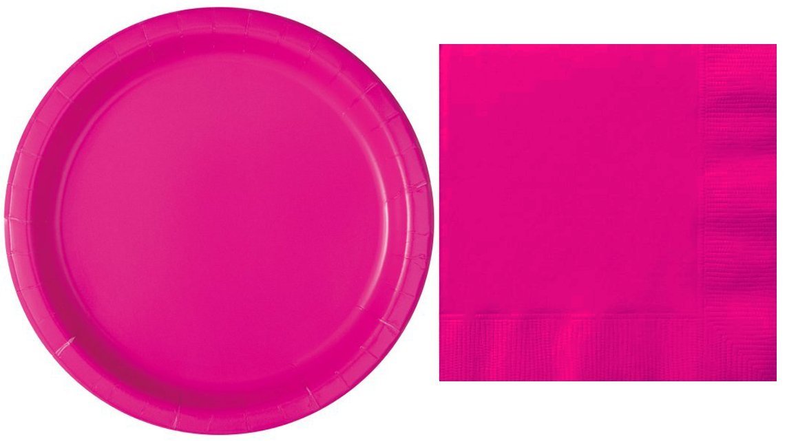 Plates and Napkins Bundle of Fun Neon Pink Solid Color Party Supply Kit