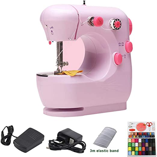 MAOMAOQUEENss Mini Máquina De Coser, Máquina De Coser Portátil, Banda Elástica De 3 M/Caja De Costura, para Tela, Ropa, Tela para Niños, Uso De Viajes En El Hogar, 3 Colores Disponibles,Pink-B: Amazon.es: