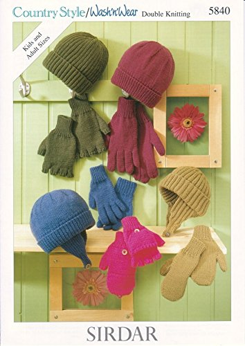 Sirdar Family Hats, Gloves & Mittens Country Style Knitting Pattern 5840 DK - Family Mitten