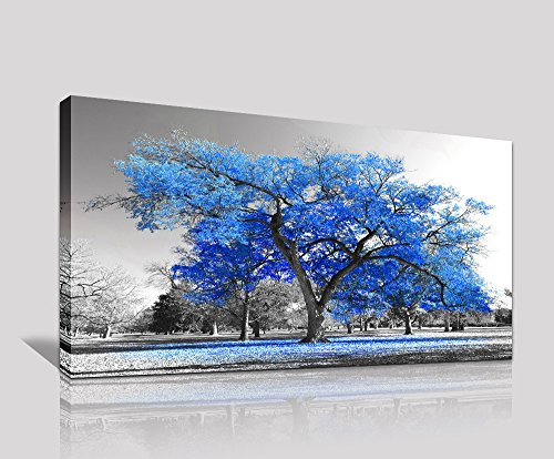 Wall Art Painting Contemporary Blue Tree In Black And White Style Fall Landscape Picture Modern Giclee Stretched And Framed Artwork (Large Size 20x40inch)