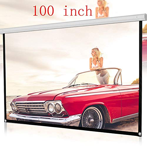 100inch Projector Screen, Jessie storee 16:9 HD Portable Video Screen with Set of Hooks Fabric Foldable 3D for Home Theater Outside Widescreen Indoor Outdoor Backyard Movies Projection Anti-Crease ...