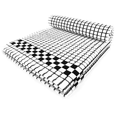 Fecido Classic Kitchen Dish Towels - Heavy Duty - Super Absorbent - 100% Cotton - Professional Grade Dish Cloths - European Made Tea Towels - Set of Two, Black