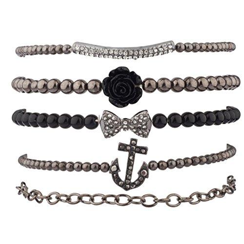 Lux Accessories Pave Anchor Bow Rose Flower Bar Arm Candy Bracelet Set ()