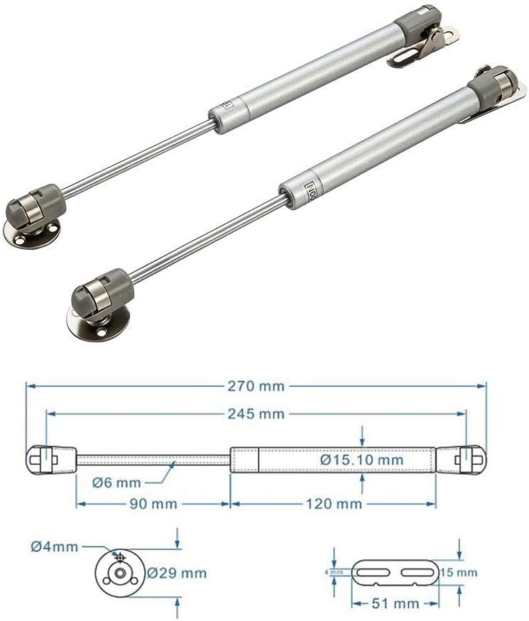 ZXYD Amortisseur /à gaz /à ressort hydraulique de porte ressort de suspension muet amortisseur t/élescopique en acier inoxydable pour poign/ée de porte dar support de couvercle /à fermeture en douceur