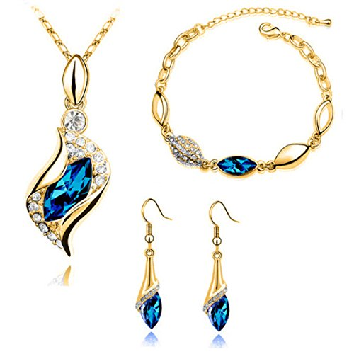 MAFMO Women Colorful Gold Jewelry Set Fashion Crystal Necklace Bracelet Earrings (Peacock -
