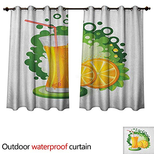 (Anshesix Green and Orange Home Patio Outdoor Curtain Glass of Orange Juice with Green Toned Background with Fruit Slices Leaves W72 x L72(183cm x 183cm) )