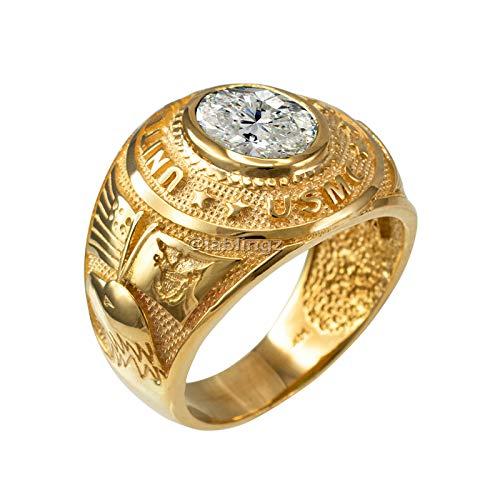 Mens 14K Yellow Gold US Marine Corps USMC Birthstone CZ Ring (April, Size 8.25) ()