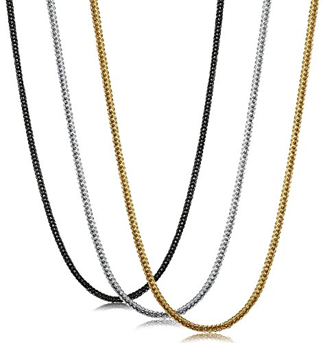 FIBO STEEL 3 Pcs 2MM Stainless Steel Wheat Chain Necklaces for Men Women Necklaces Chain,16-36 Inches
