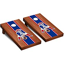 NFL New England Patriots Throwback Rosewood Stained Stripe Version Football Corn hole Game Set, One Size