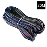 YOUKOYI 65.6ft/20m 4 Pin LED Strip Extension Cable Wire Cord Line for RGB 5050 3528 Cord, UL1007, 22 AWG, 4 Color