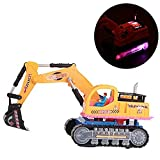 Eonkoo New Yellow Universal Wheel Electric Excavator Construction Truck Toy for Child Best Gift, Hight Quality Plastic Flashing Lights Music Navvy Model Toys for 3-8 years old kids