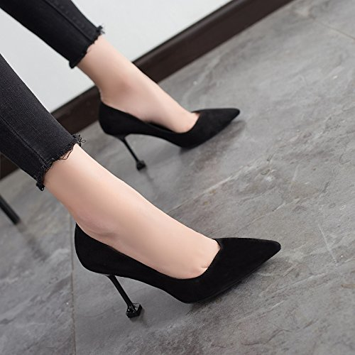 Female Black Shoes Wild Jqdyl Winter 9 And Autumn Spring New Work High 5cm heels Heels High n1wYa