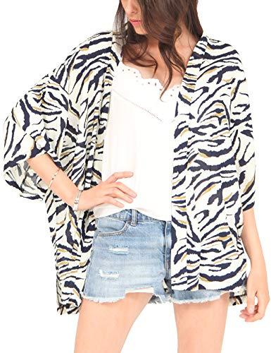 MissShorthair Women's Zebra Print Kimono Cardigan Coverup Blouse Tops