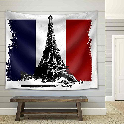 Illustration Eiffel Tower Over France Flag with Grunge Effect Fabric Wall