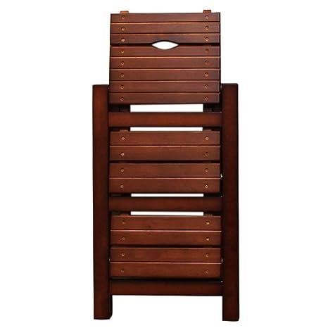 WCS Escalera de madera maciza Escalera plegable Taburete ...