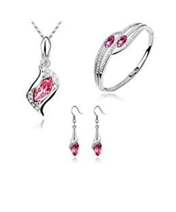 Hot Sale Women Necklace,Jushye Ladies Fashion Style Jewelry Set Crystal Chic Eyes Drop Earrings Necklace Bracelet DIY For Valentine's Day (D)