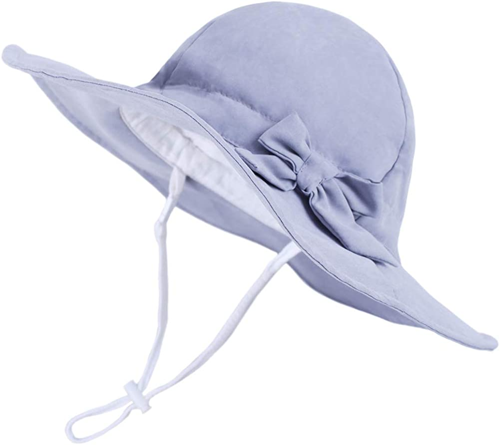 YJWAN Girls Sun Hats Toddlers UPF 50 Protective Kids Summer Velcro Cotton Big Brim Bow Cute Baby Bucket Cap