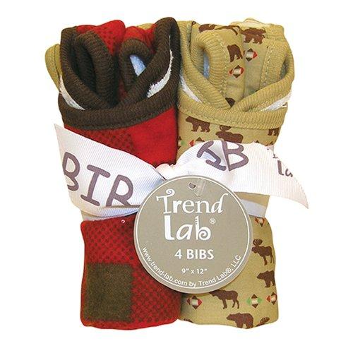 Trend Lab Baby Nursery Infant Kids Bouquet 4 Pack Bib - Northwoods Toys Christmas ()