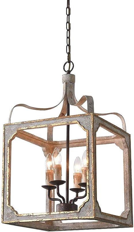 Amazon Com Lovedima 4 Light Lantern Pendant Lighting Square Wood Metal Chandeliers Hanging Light Ceiling Light Fixtures In Antique Gray Antique Gold 4 Light Home Improvement
